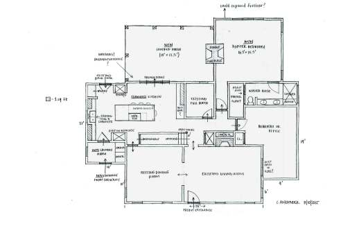 Proposed kitchen expansion, porch and master bedroom addition